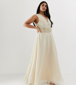 ASOS DESIGN Curve maxi dress with drape pearl and sequin bodice-Beige
