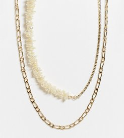 ASOS DESIGN Curve pack of 2 necklaces in faux coral chip and crystal design in gold tone