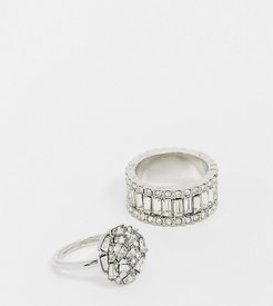 ASOS DESIGN Curve pack of 2 rings with engagement ring and statement band in silver tone