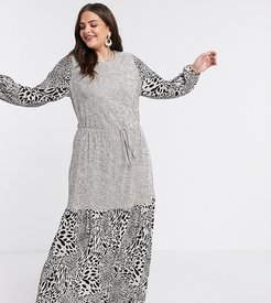 ASOS DESIGN Curve plisse maxi dress with blouson sleeve in mixed animal and polka dot-Multi