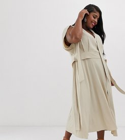ASOS DESIGN Curve plunge neck modern maxi dress with cape sleeves in texture-Beige