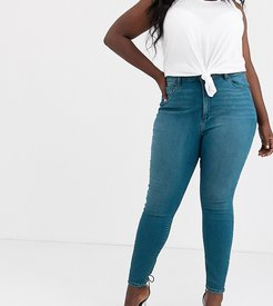 ASOS DESIGN Curve Ridley high waisted skinny jeans in sea blue wash