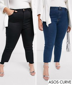 ASOS DESIGN Curve Ridley skinny jeans 2 pack in black and mid blue wash save 16%-Multi