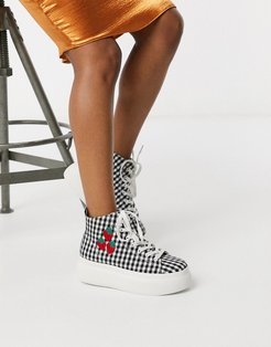 Daphne hi-top chunky sneakers in black and white gingham-Multi