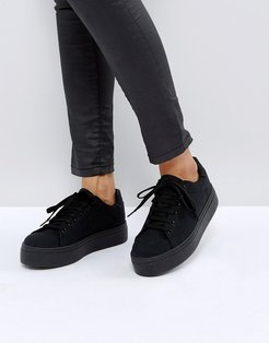 Day light chunky flatform lace up sneakers-Black