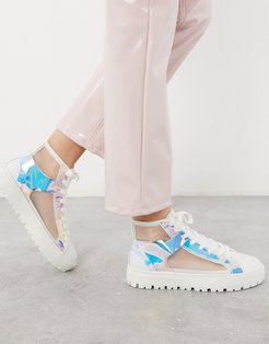 Dazzle high-top mesh sneakers in iridescent and white