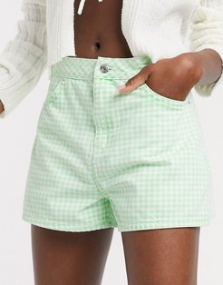 denim a line shorts in gingham-Green