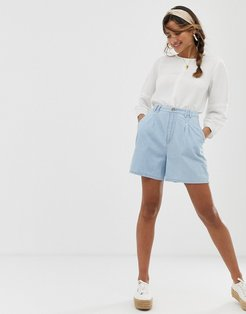 denim longline culotte short in lightwash blue