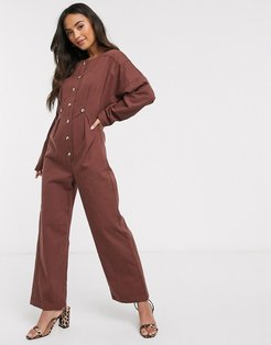 denim relaxed jumpsuit-Brown