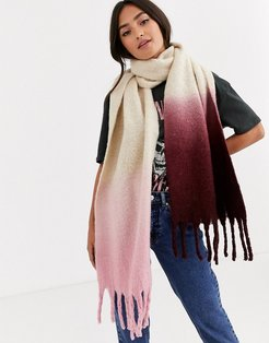 dip dye scarf in pink and burgundy-Multi