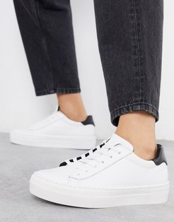 Dora leather lace up sneakers in white