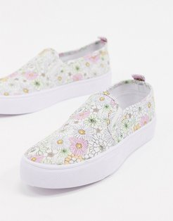 Dotty slip on plimsolls in floral-Multi