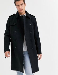 double breasted trench coat in black