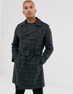 double breasted trench coat in navy check