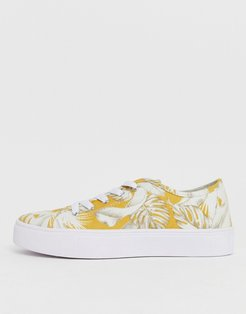 Dusty lace up sneakers in mustard print-Multi