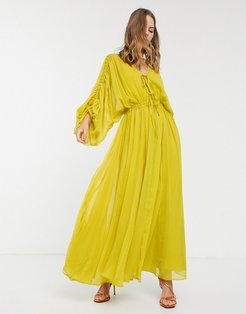 Eivissa soft tiered maxi dress with drawstring waist and sleeves-Yellow