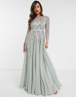 embellished floral occasion maxi dress in mint-Green