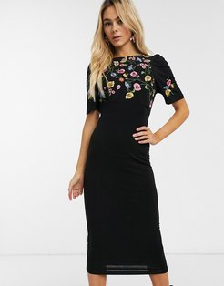 embroidered midi dress-Black