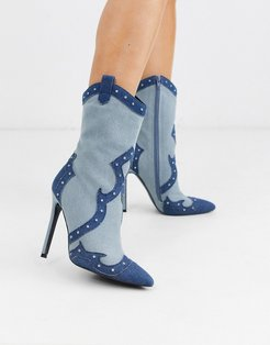 Entrance western heeled boots in denim-Blue