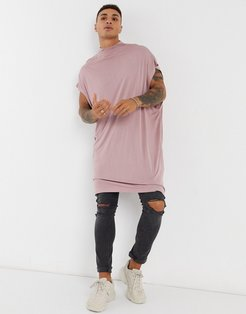 extreme oversized super longline tank with turtle neck in washed purple-Pink