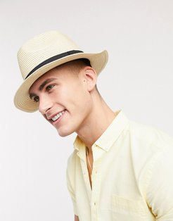 festival fedora hat in beige straw with band