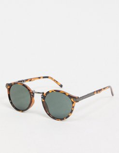 festival round sunglasses in tort with smoke lens-Brown