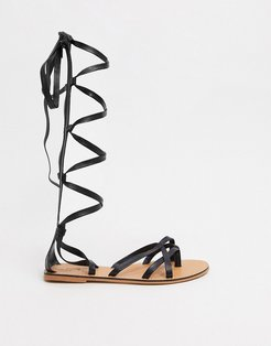 Firebox leather knee high gladiator sandals in black