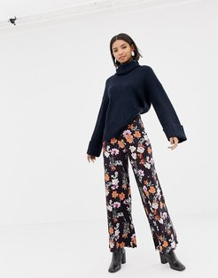 floral wide leg pants with deep waistband-Multi