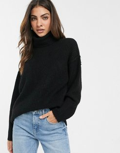 fluffy sweater with cowl neck-Black