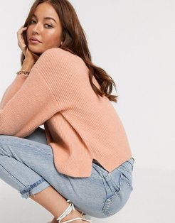 fluffy v neck ribbed sweater with balloon sleeve in recycled blend-Pink