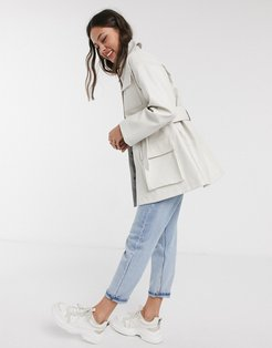 four pocket belted faux leather jacket in white