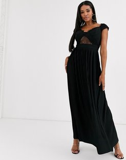 Fuller Bust premium lace and pleat bardot maxi dress-Black