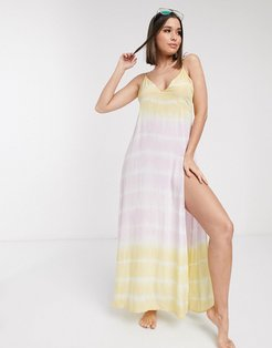 fuller bust tie shoulder beach slip dress in washed tie dye print-Multi