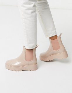Gadget chunky chelsea rain boots in beige