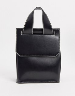 glossed black backpack with contrast top stitch