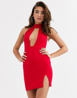 going out deep plunge mini dress-Red