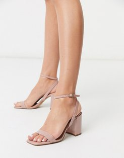 Havana barely there block heeled sandals in beige patent