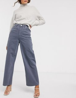 High rise 'relaxed' dad jeans in pebble gray
