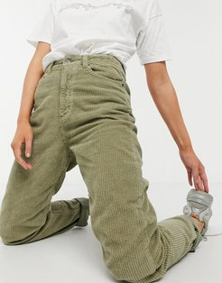 high-rise 'slouchy' mom jeans in khaki cord-Black
