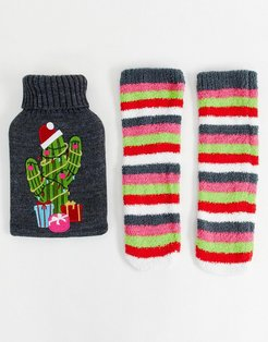 Holidays cactus hot water bottle and socks pack-Multi