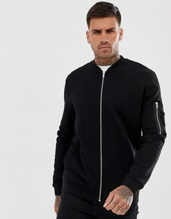 jersey bomber jacket with ma1 pocket in black