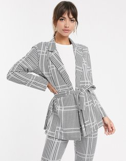 jersey check wrap belted suit blazer-Multi