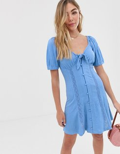 knot front button through sundress with puff sleeve-Blue