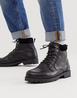 lace up worker boots in black leather