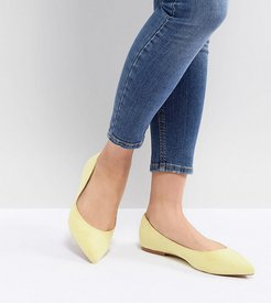 Latch Wide Fit Pointed Ballet Flats-Yellow