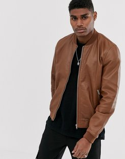 leather bomber jacket in tan