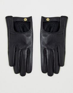 leather plain gloves with touch screen in black