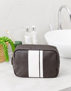leather toiletry bag with stripe detail in brown-Tan