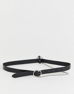 leather waist and hip belt with circle buckle and chain detail-Black
