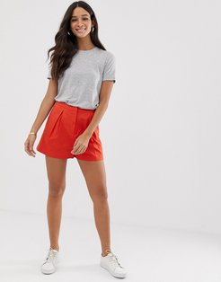linen a-line shorts-Red